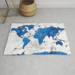world map marble floral Rug
