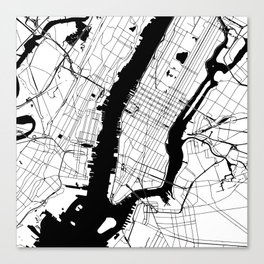 New York City White on Black Canvas Print