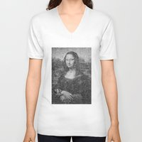 mona lisa V-neck T-shirts featuring Mona Lisa by The Invisible Shop