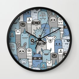 Monsters & Friends in Blue Wall Clock