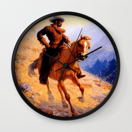 """William Leigh Western Art """"Looking For Strays"""" Wall Clock"""