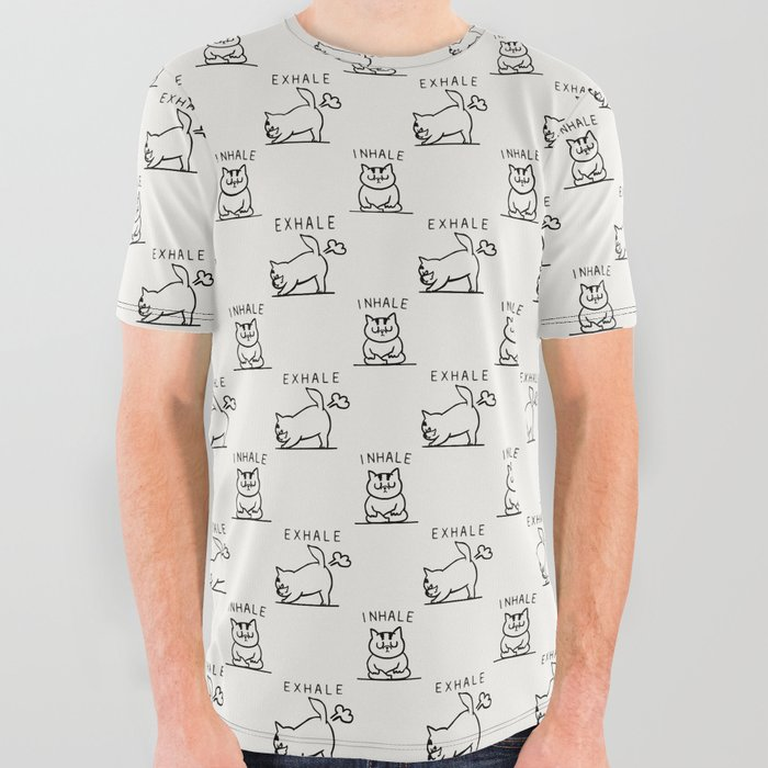 3630e8a3db88 Inhale Exhale Cat All Over Graphic Tee by huebucket | Society6