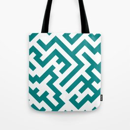 White and Teal Green Diagonal Labyrinth Tote Bag