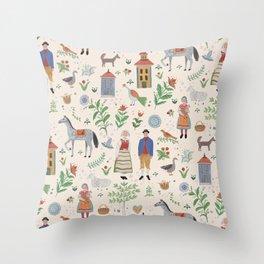 Swedish Folk Art Throw Pillow