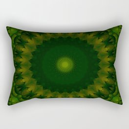 Mandala in light and dark green tones Rectangular Pillow