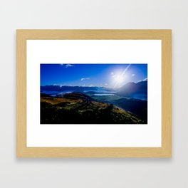 lake wanaka covered in blue colors new zealand beauties and mountains at sunrise Framed Art Print