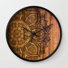 Mandala on wood Wall Clock
