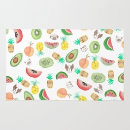 Pink lime green watercolor tropical fruit cute pattern Rug