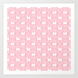Chihuahua long haired pink and white floral silhouette pattern dog breed art Art Print