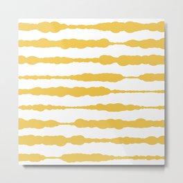 Macrame Stripes in Mustard Yellow and White Metal Print