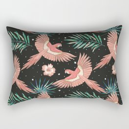 Pink macaw parrots on the starry night sky Rectangular Pillow