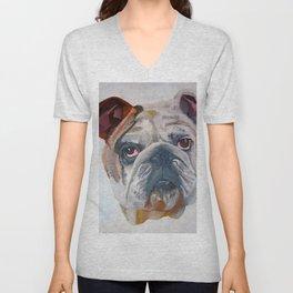 American Bulldog Portrait: Yale Mascot Unisex V-Neck