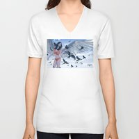 raven V-neck T-shirts featuring Raven by Radical Ink by JP Valderrama