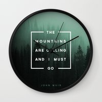 camp Wall Clocks featuring The Mountains are Calling by Zeke Tucker