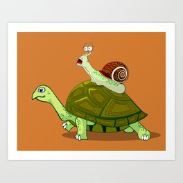 Frightened Snail Hitches a Ride Art Print