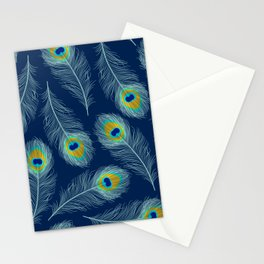 Luxe textured peacock feather on marine blue Stationery Cards