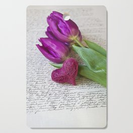 pink spring Tulips with heart Cutting Board