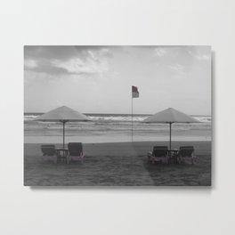 Bali Beach Black & White With Pink Metal Print