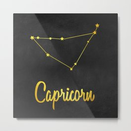 Capricorn Zodiac Constellation in gold Metal Print