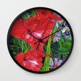 Gladiola's and Echinacea Wall Clock