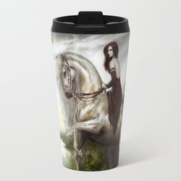 Morning welcome - Royal redead girl riding a white horse Travel Mug