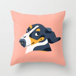 One Skeptical Pup Throw Pillow