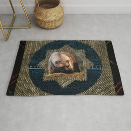 Grizzly Bear Makes Eye Contact Rug