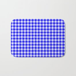 Gingham Blue and White Pattern Bath Mat