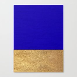 Color Blocked Gold & Cerulean Canvas Print
