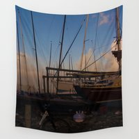 boats Wall Tapestries featuring Boats by Lizzie Scott
