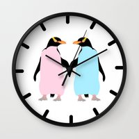 penguins Wall Clocks featuring Penguins by mailboxdisco