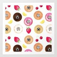 Donut Pugs Art Print