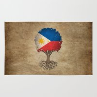 philippines Area & Throw Rugs featuring Vintage Tree of Life with Flag of Philippines by Jeff Bartels