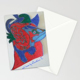 Red horse abstract modern painting by Christian T. 4 Stationery Cards