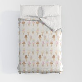 Watercolor Ice Cream Cones Comforters