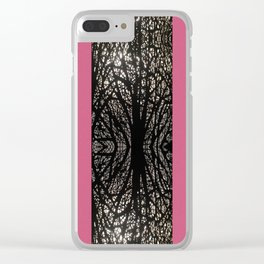 Gothic tree striped pattern pink Clear iPhone Case