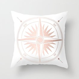 Rose Gold on White Compass Throw Pillow