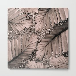 Banana Leaves Glitter Glam #3 #shiny #tropical #decor #art #society6 Metal Print
