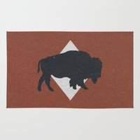 bison Area & Throw Rugs featuring Bison & Blue by Zeke Tucker