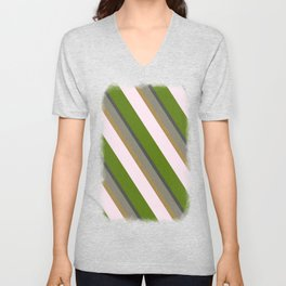 Pink Roses in Anzures 5  Stripes 3D Unisex V-Neck