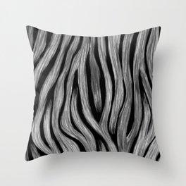 Animal Print Zebra Hand Painted Minimal Minimalistic Black White Gray Throw Pillow