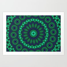 Lovely Healing Mandalas in Brilliant Colors: Black, Royal Blue, Dark Green, and Russian Green Art Print