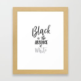Absence of White Framed Art Print