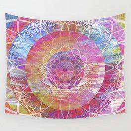 Glitch Mandala Wall Tapestry