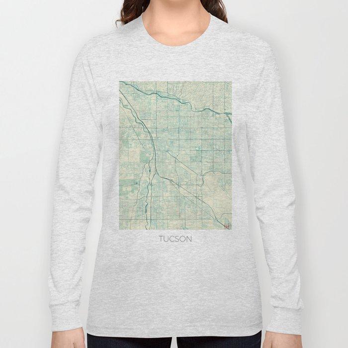 Tucson Map Blue Vintage Long Sleeve T-shirt