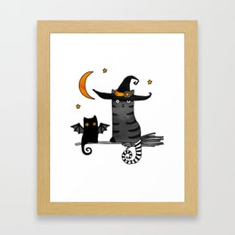 2 cats – Bat and Wizard on a broomstick for Halloween Framed Art Print
