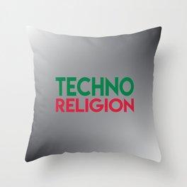 Techno religion rave music quote Throw Pillow