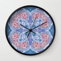 greek Wall Clocks featuring Greek Summer by RED ROAD STUDIO