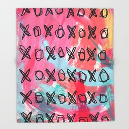 Everybody Is Somebody's Special #5 love typography xoxo pattern pink abstract painting Throw Blanket