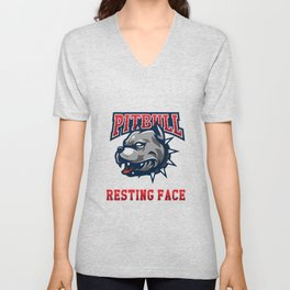 Funny Pit bull Lover Gift Pitbull Resting Face Unisex V-Neck